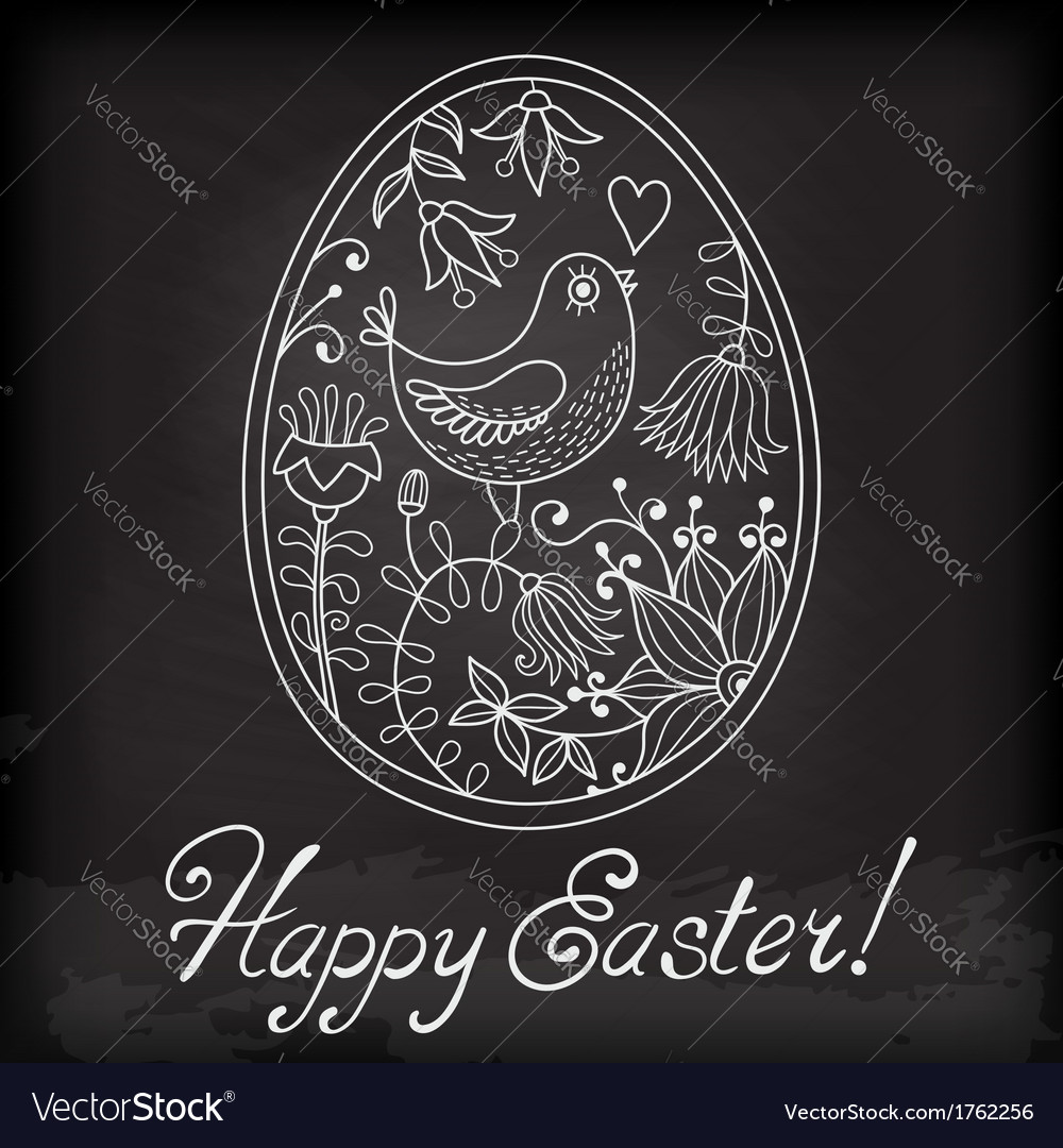 Easter egg drawn hand