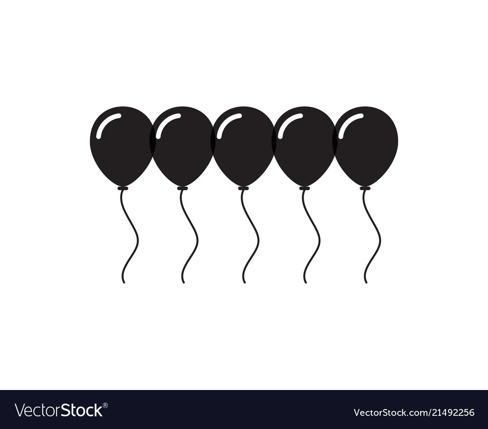 Flying festive balloons shiny with glossy