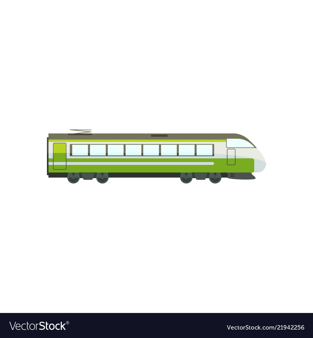 Green modern passenger train locomotive subway