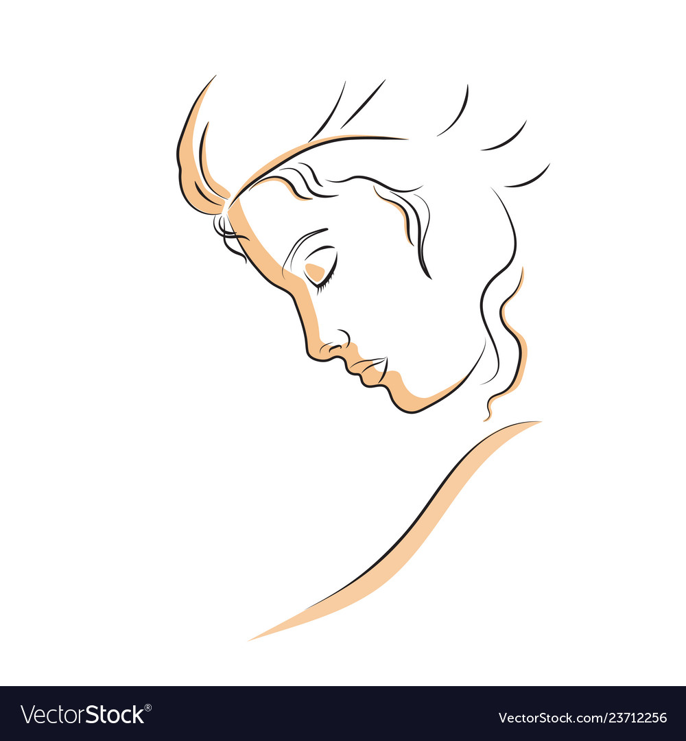 Linear profile of a beautiful woman
