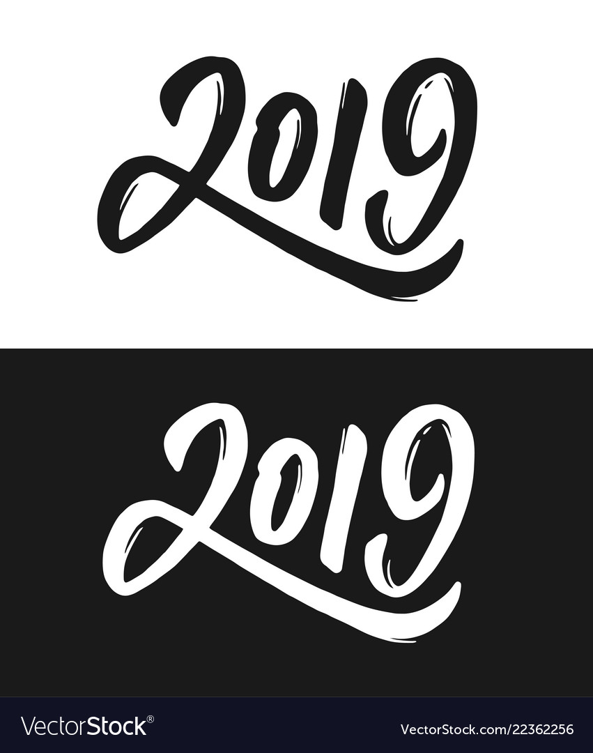 New year 2019 greeting card in black and white