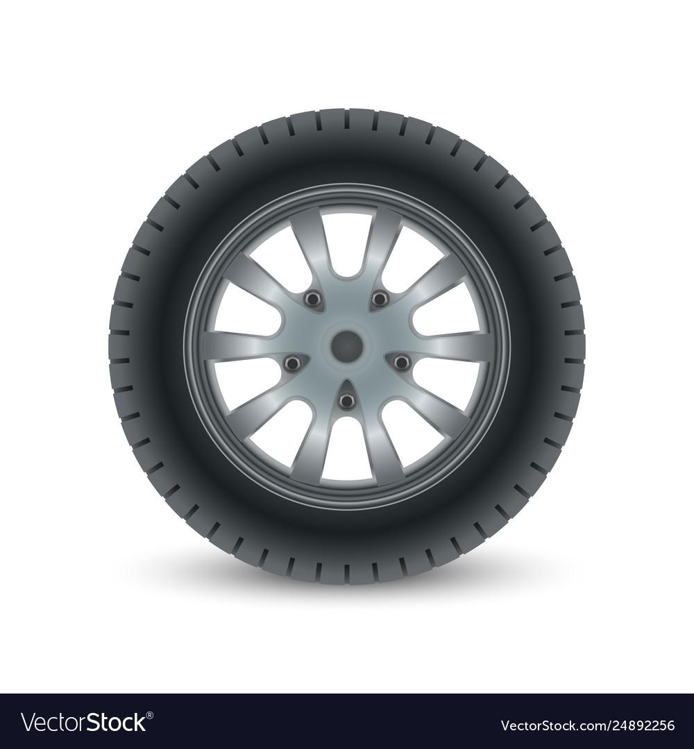 Realistic car wheel tyre