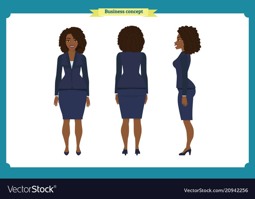 Set of black businesswoman character design