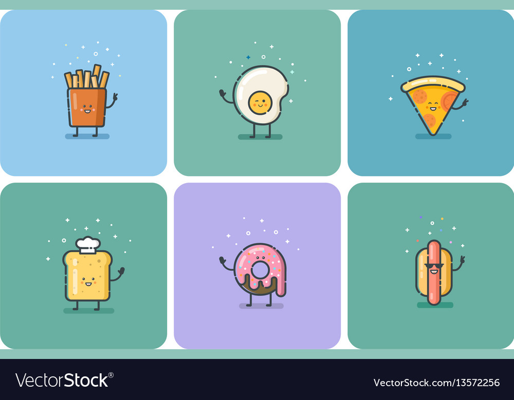 Set of flat fast food icons cute cartoon vector image