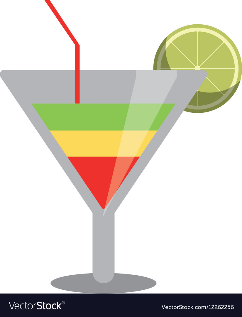 Soft drink cocktail lemon and straw vector image