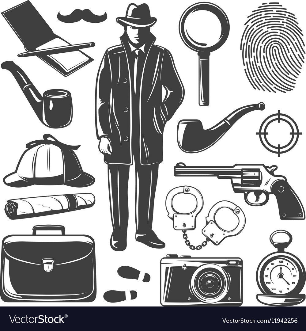 Vintage Detective Elements Set vector image