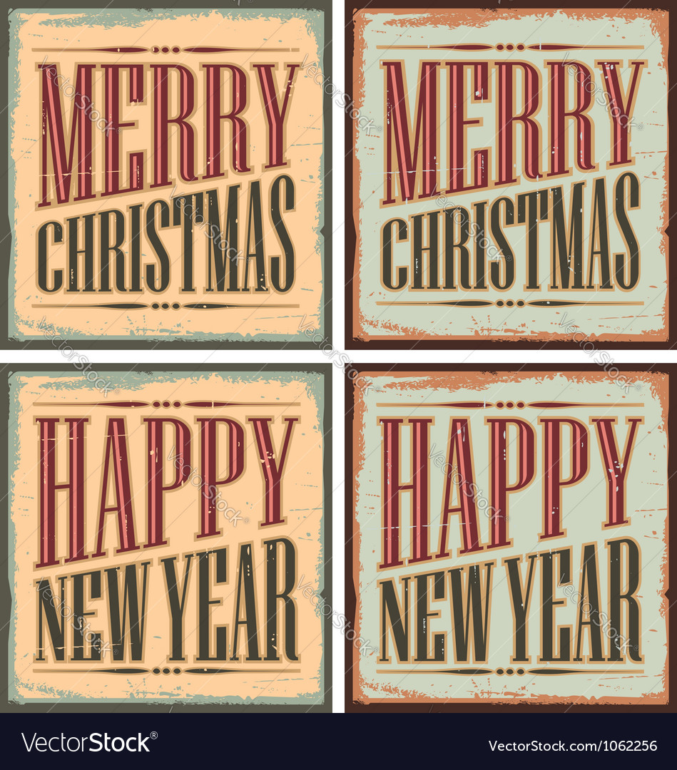 Vintage style Christmas tin signs - Christmas card