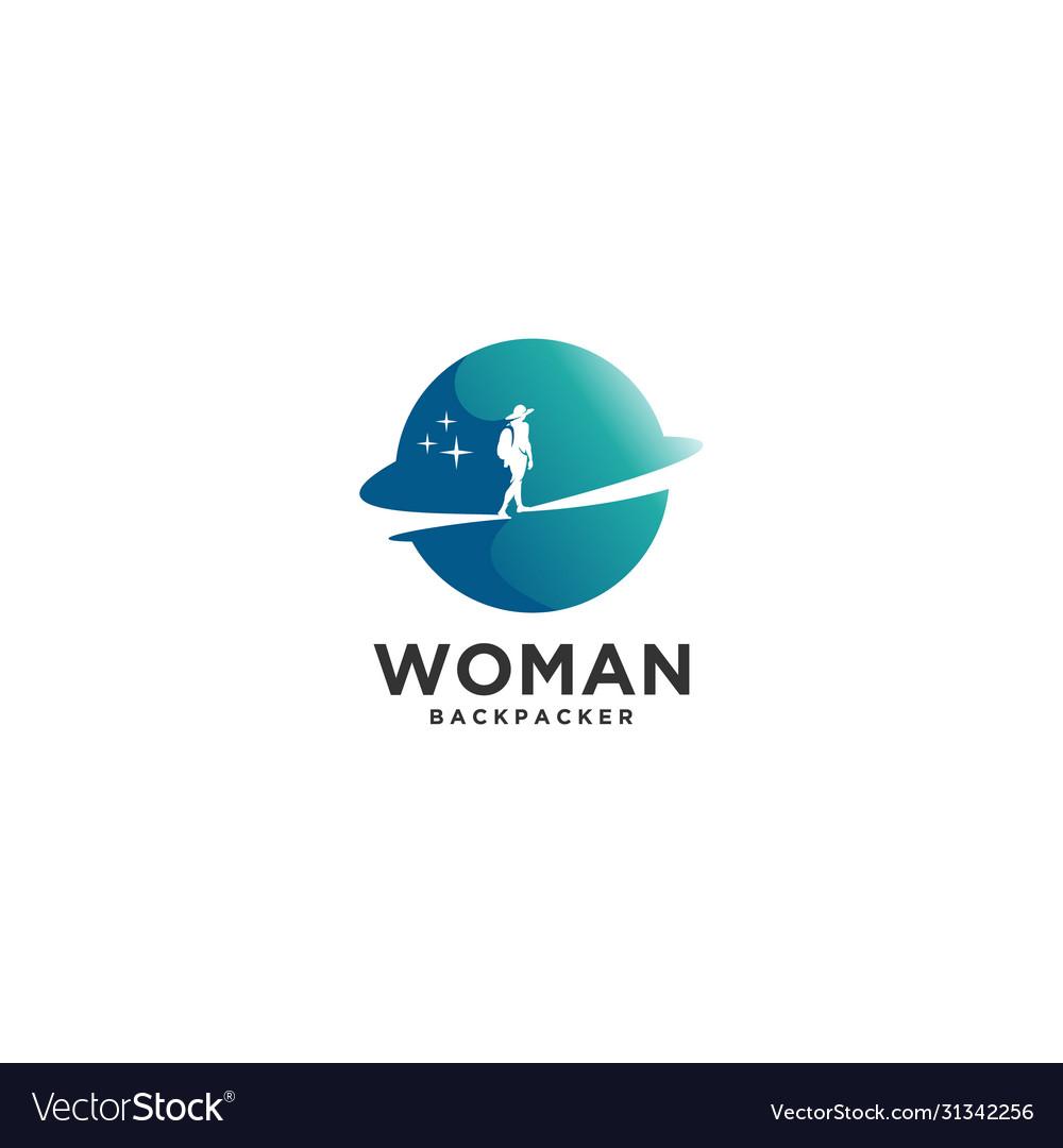 World woman backpacker