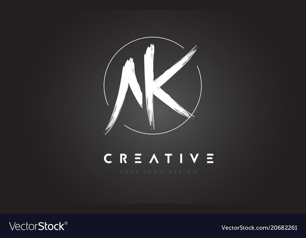 Ak brush letter logo design artistic handwritten