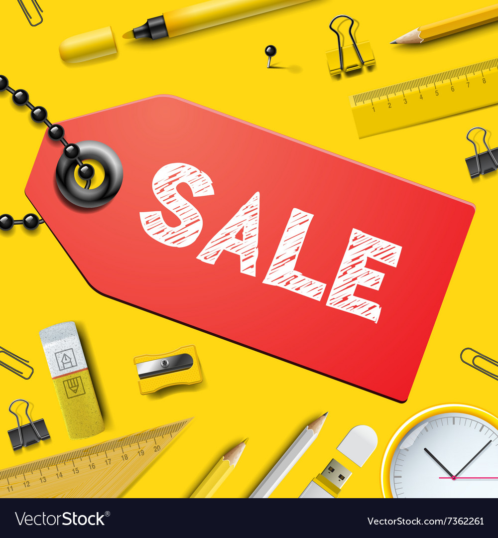 Back to school SALE background with supplies vector image