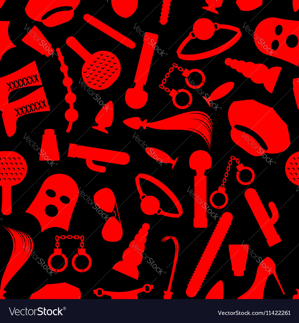 BDSM background Fetish icons seamless pattern