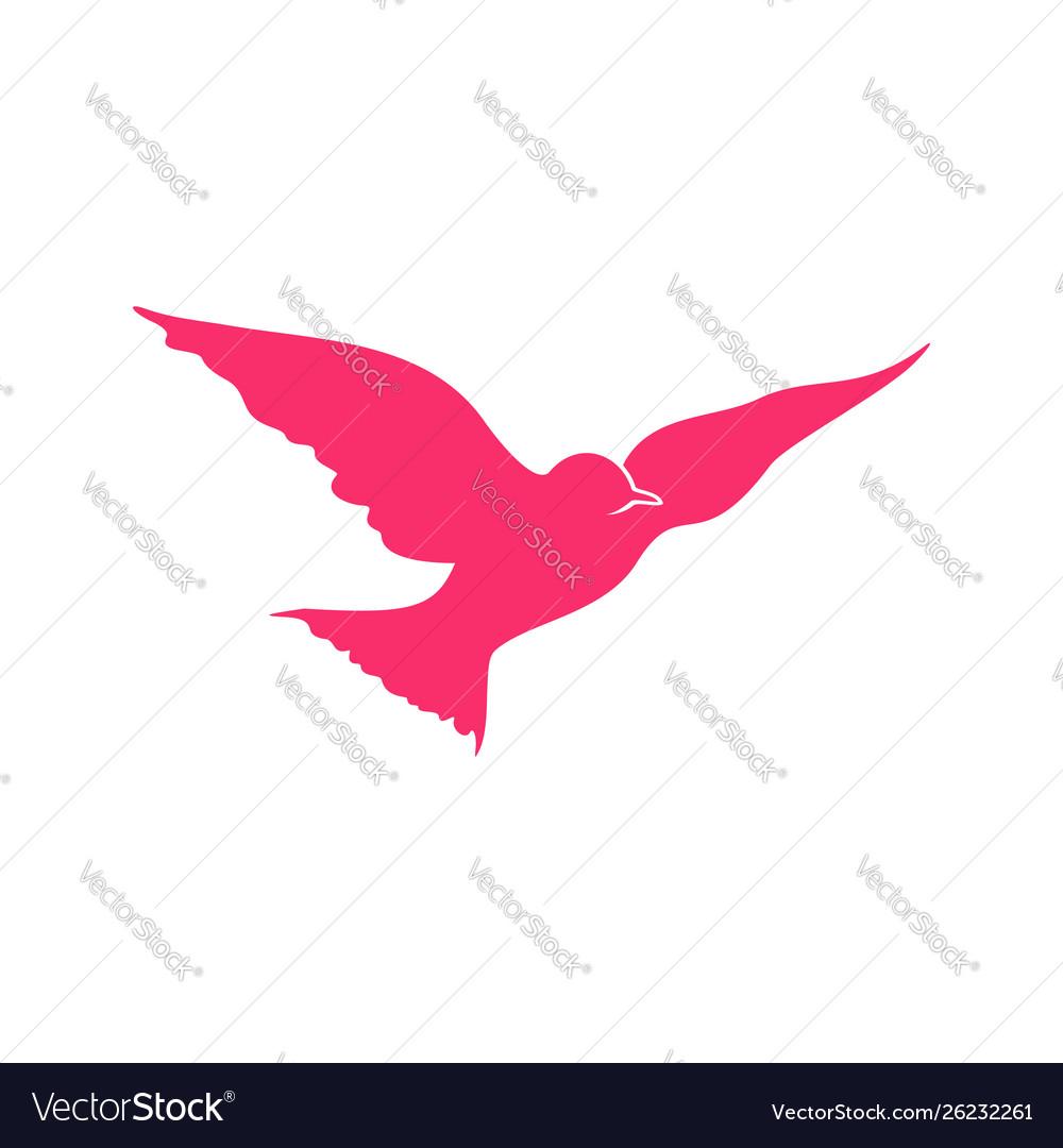 Flying pink bird open wings symbol design