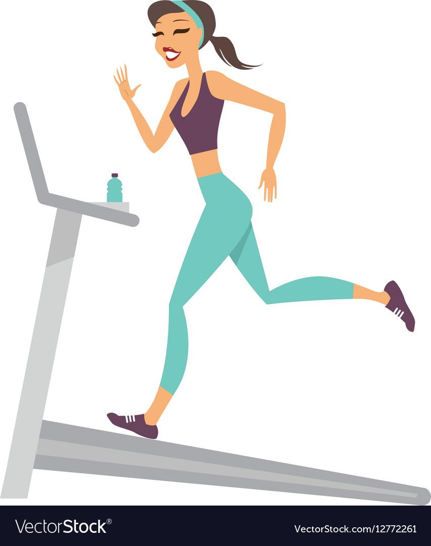 Girl running on the treadmill
