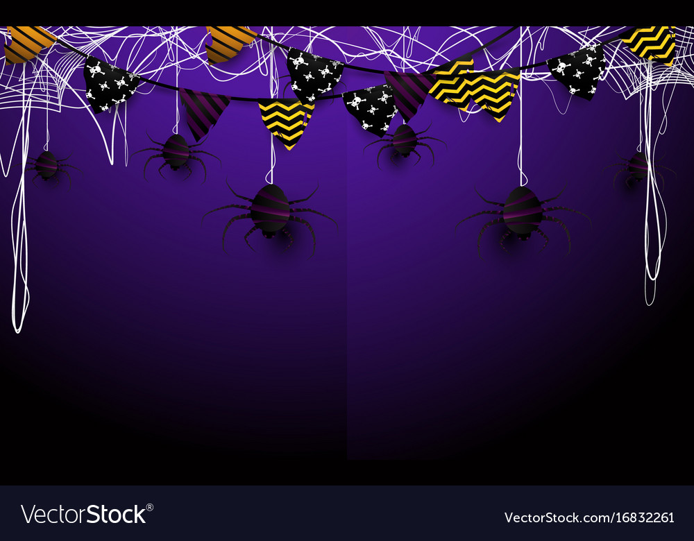 Happy halloween design flags garlands and spider