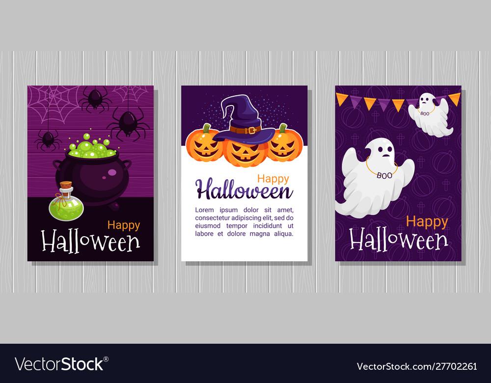 Happy halloween flat greeting cards