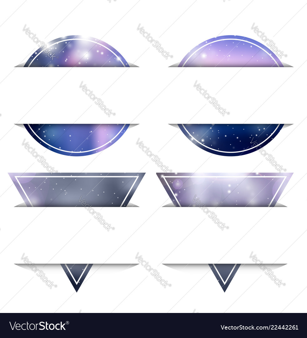 Set of banners from circles and triangles with