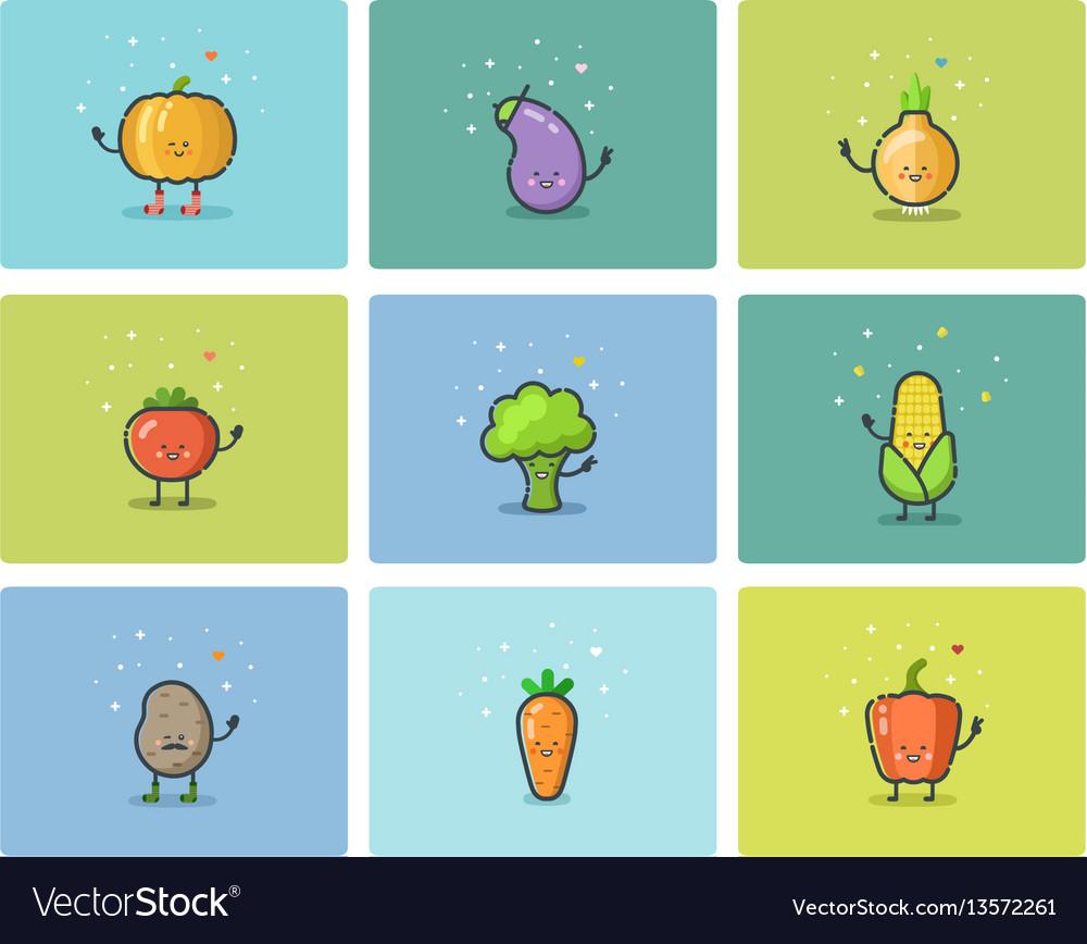 Set of flat vegetable icons cute cartoon