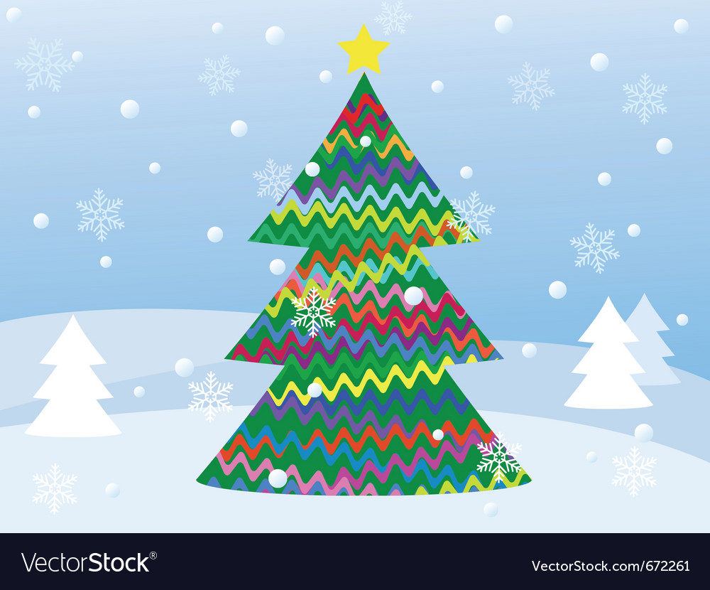 Snowy winter landscape with christmas tree