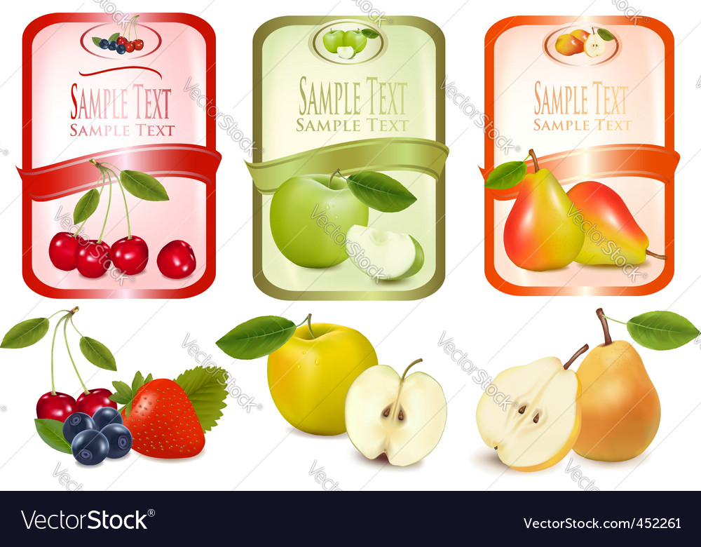 Three labels with fruits