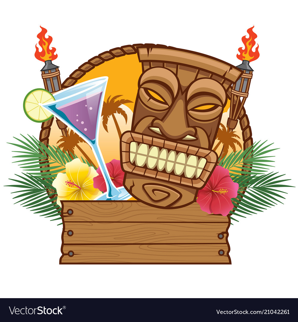 Tiki mask with blank wood sign Royalty Free Vector Image