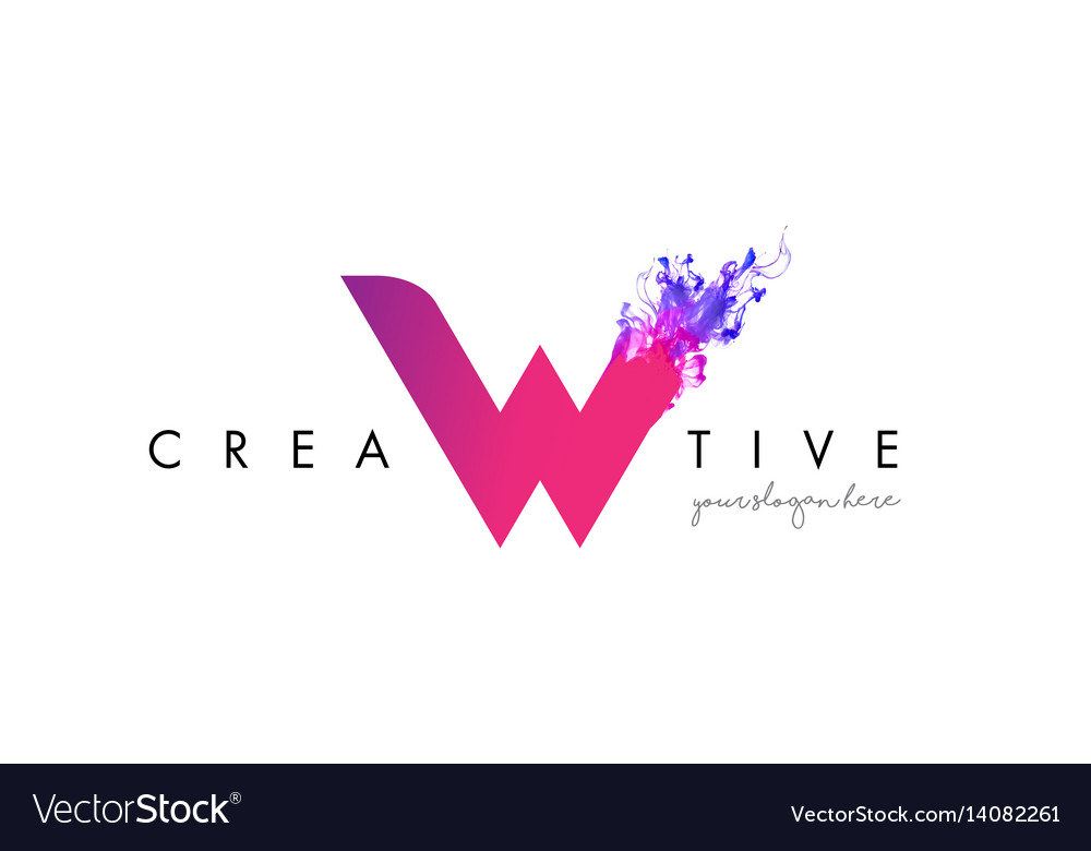 W letter logo design with ink cloud flowing vector image