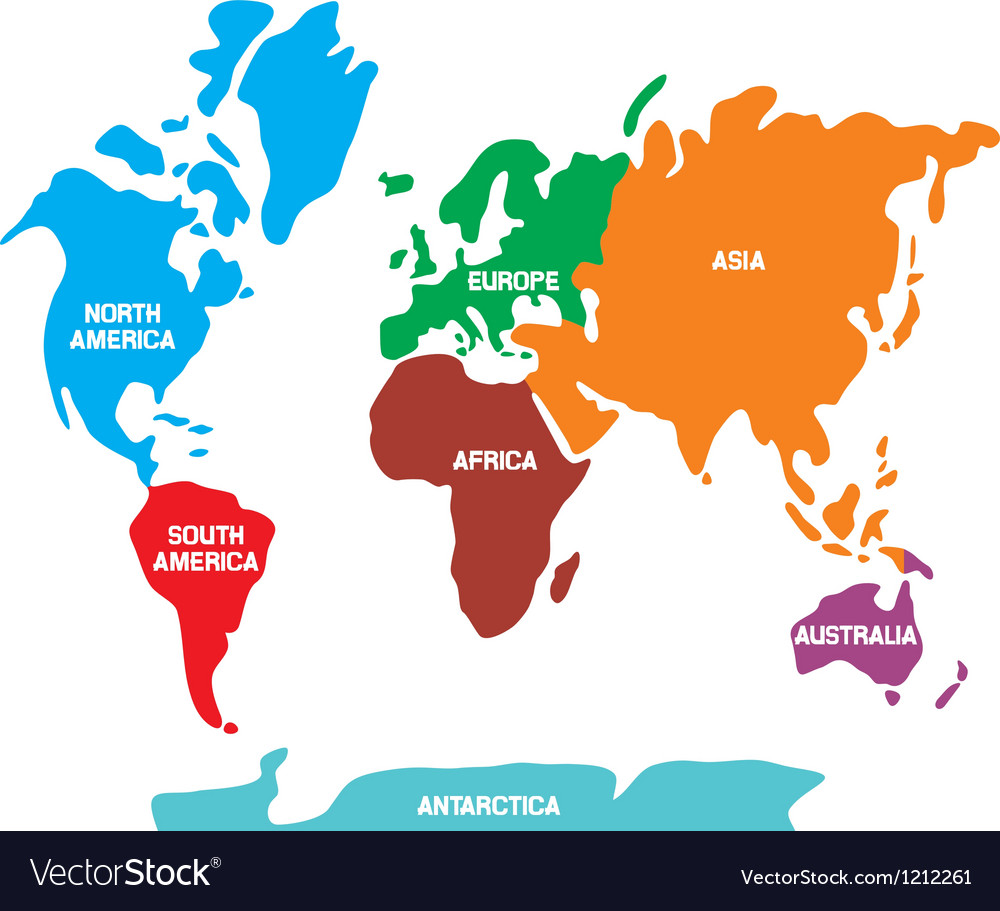 World map with continents royalty free vector image world map with continents vector image gumiabroncs