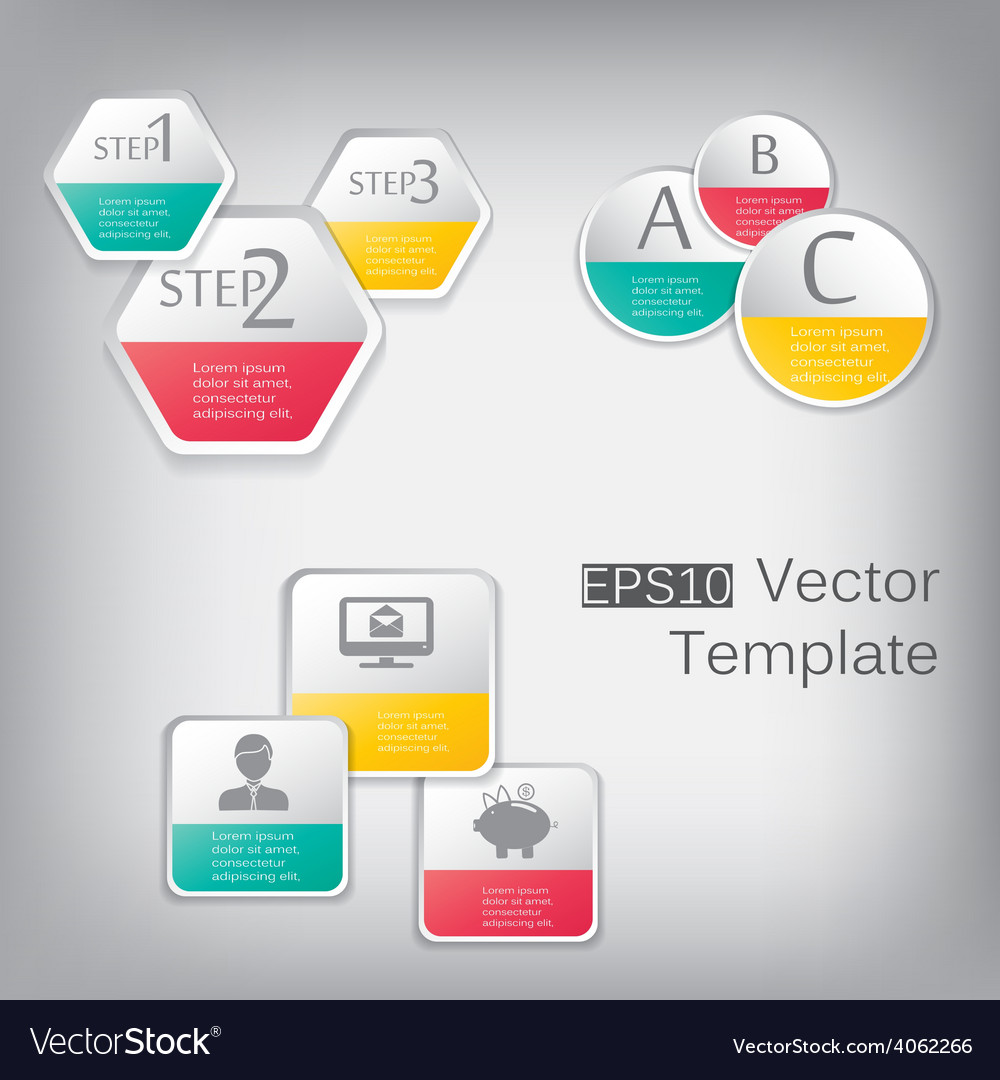 3d paper hexagon elements for infographic