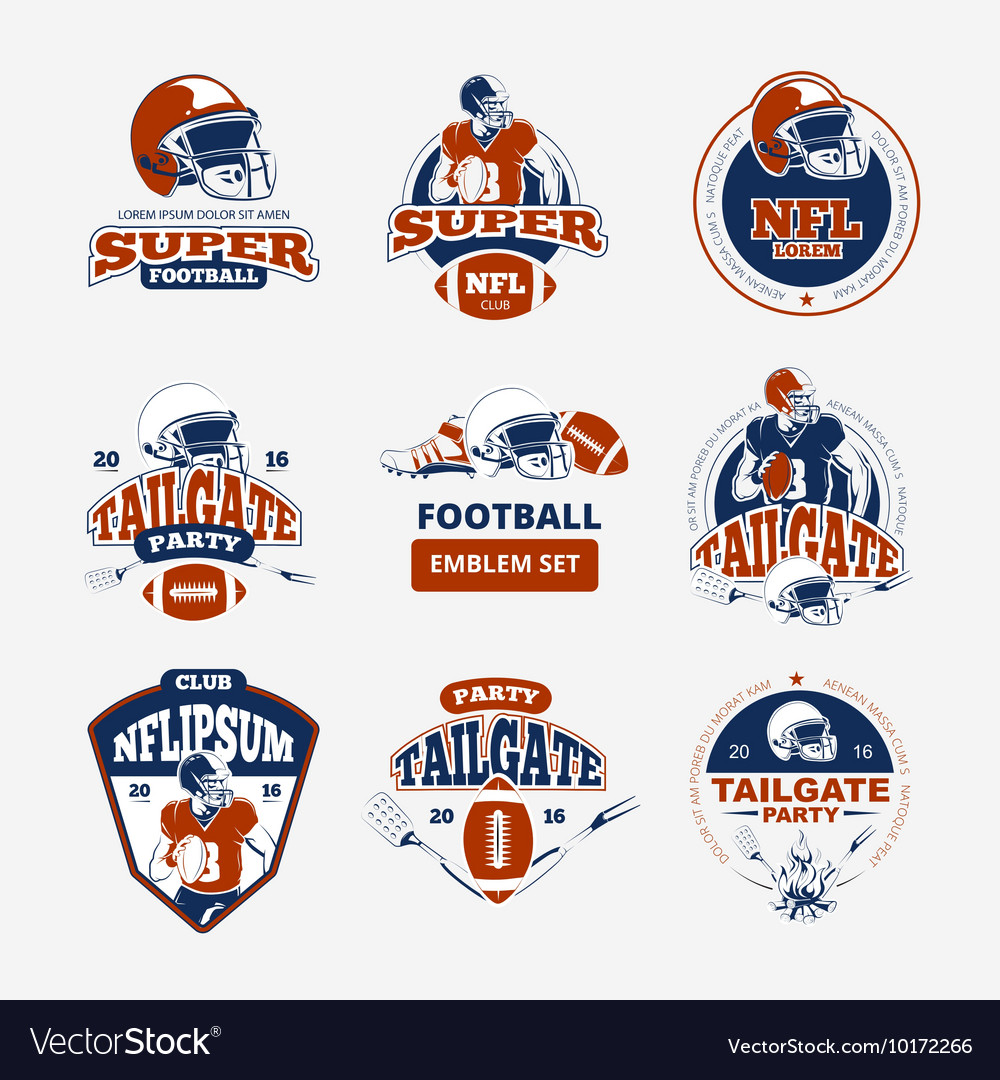 American football rugby color emblems set