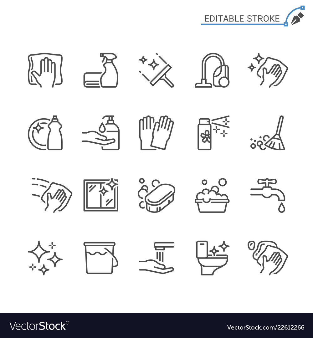 Cleaning line icons editable stroke
