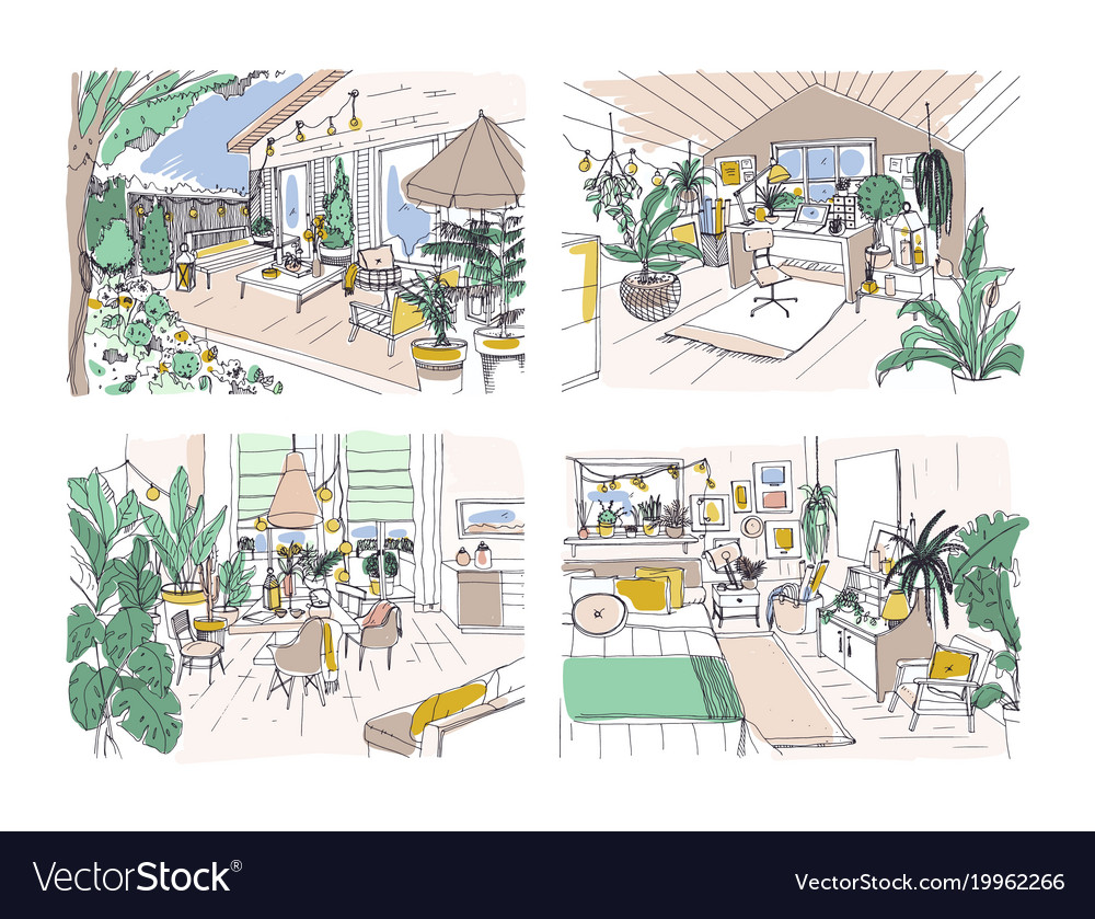Collection Of Colored Freehand Drawings Of Cozy