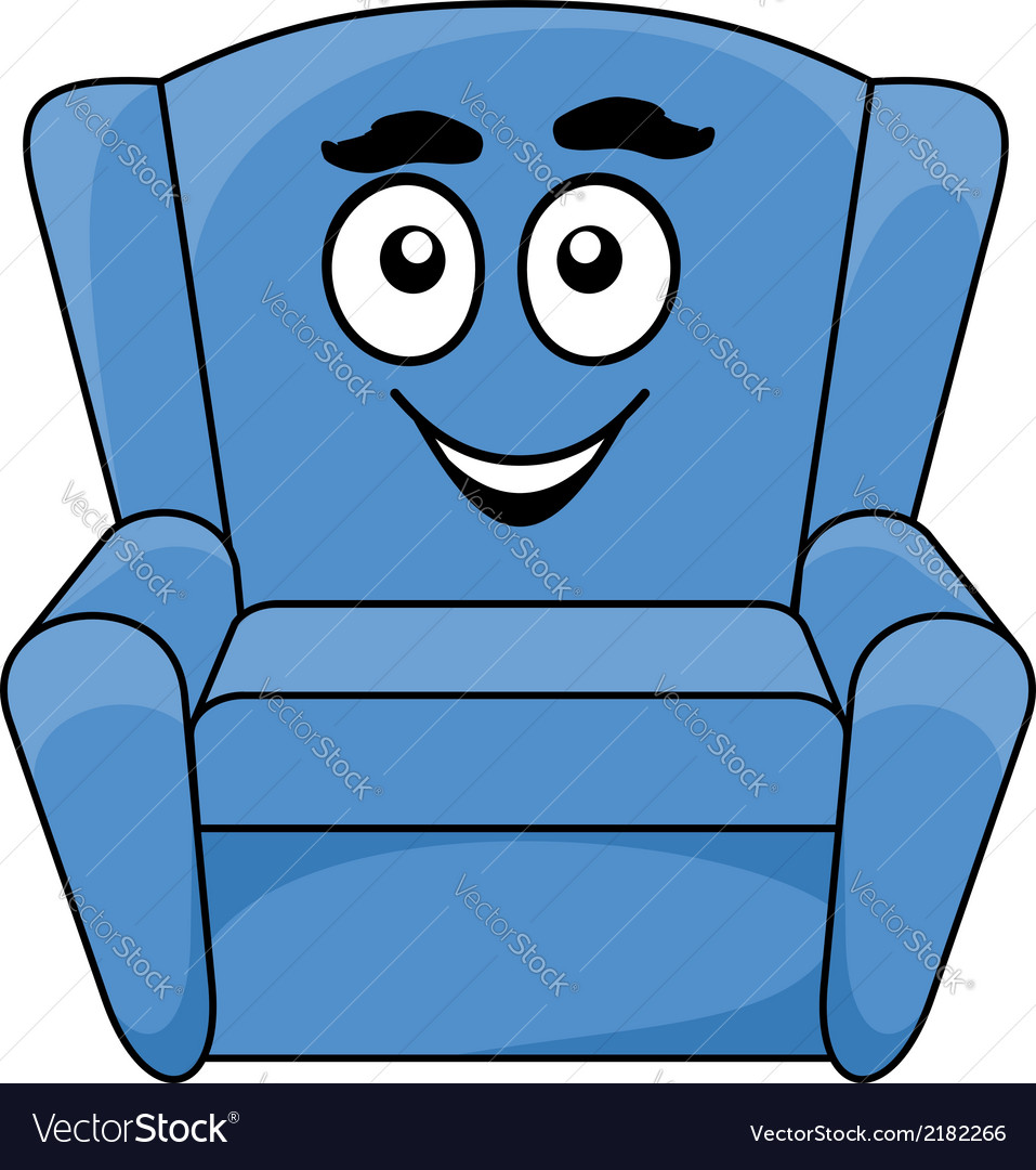 Comfortable upholstered blue armchair vector image