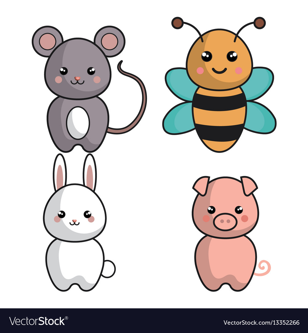 Cute animals kawaii style