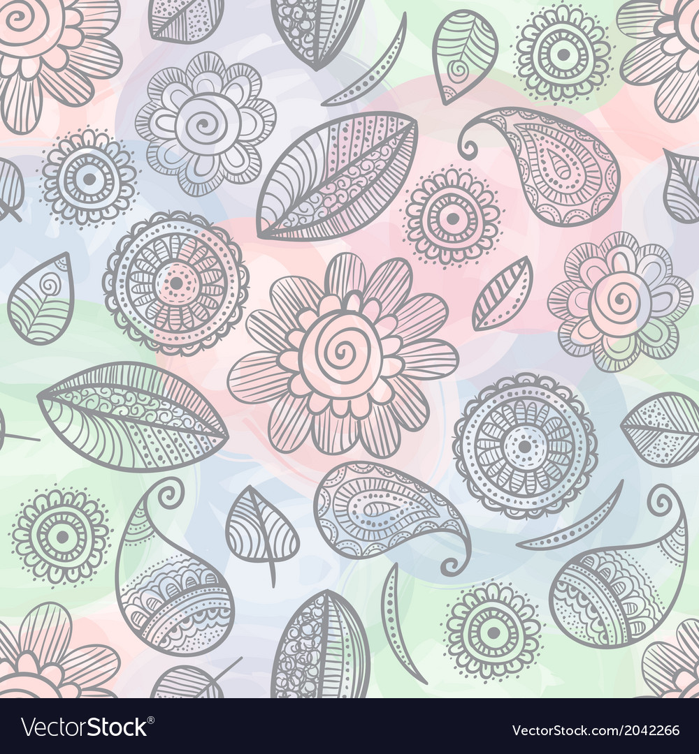 Flower Seamless Watercolor Background Royalty Free Vector