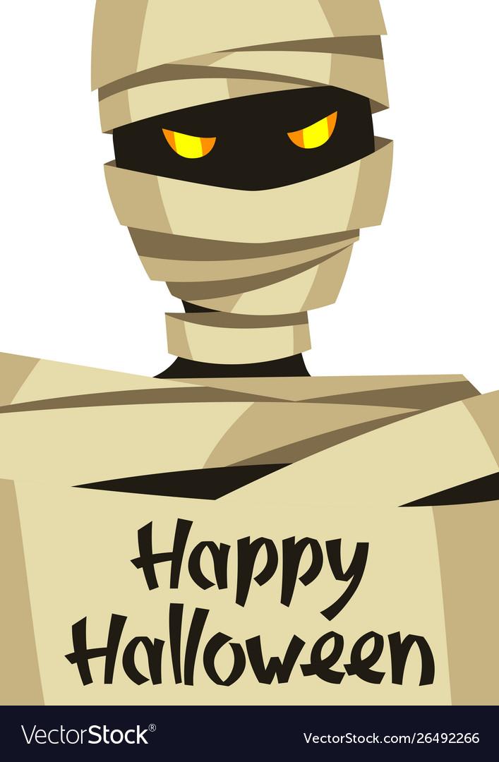 Happy halloween greeting card with mummy