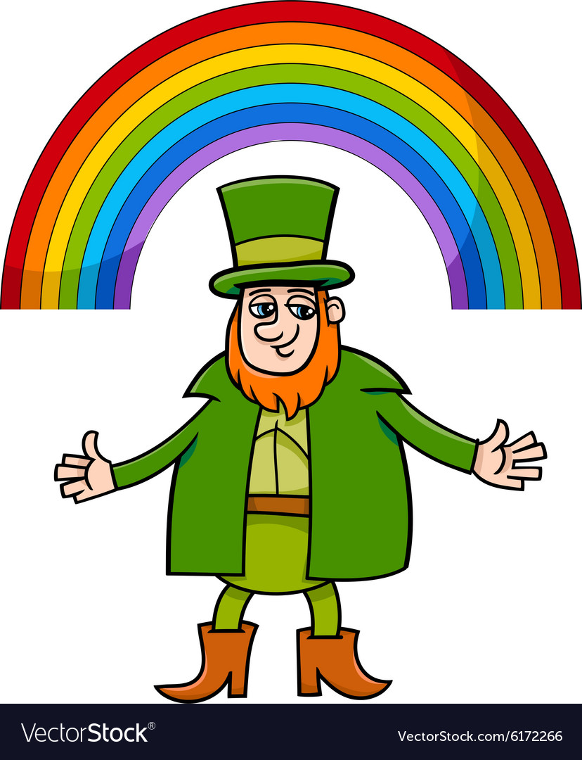 Leprechaun and rainbow cartoon vector image