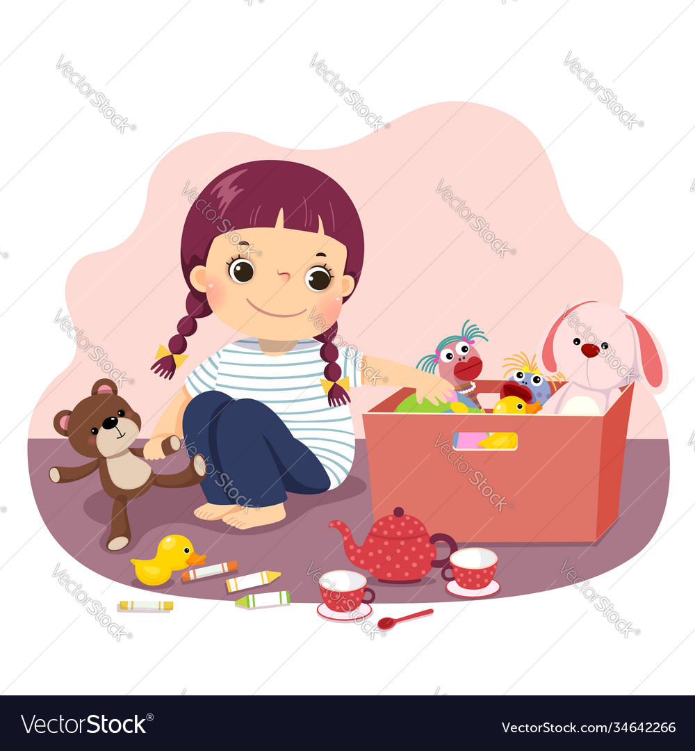 Little girl putting her toys into box