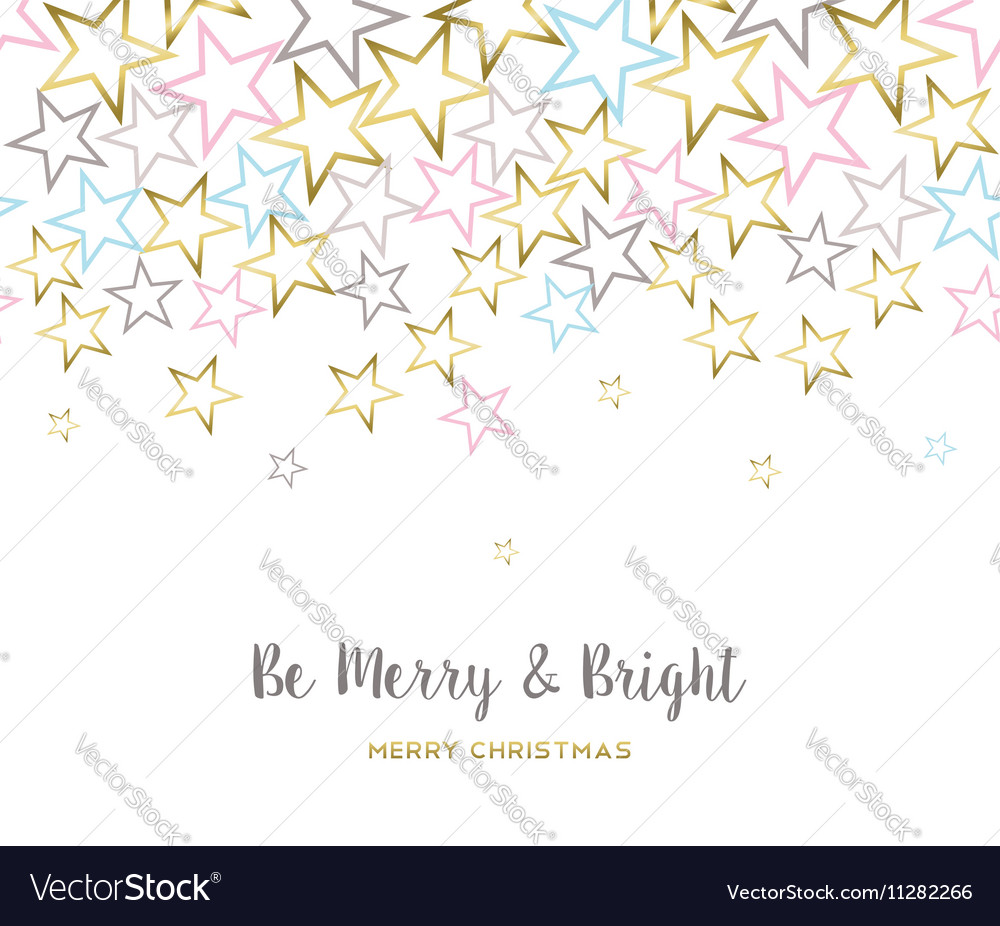 Merry christmas design with gold star decoration vector image