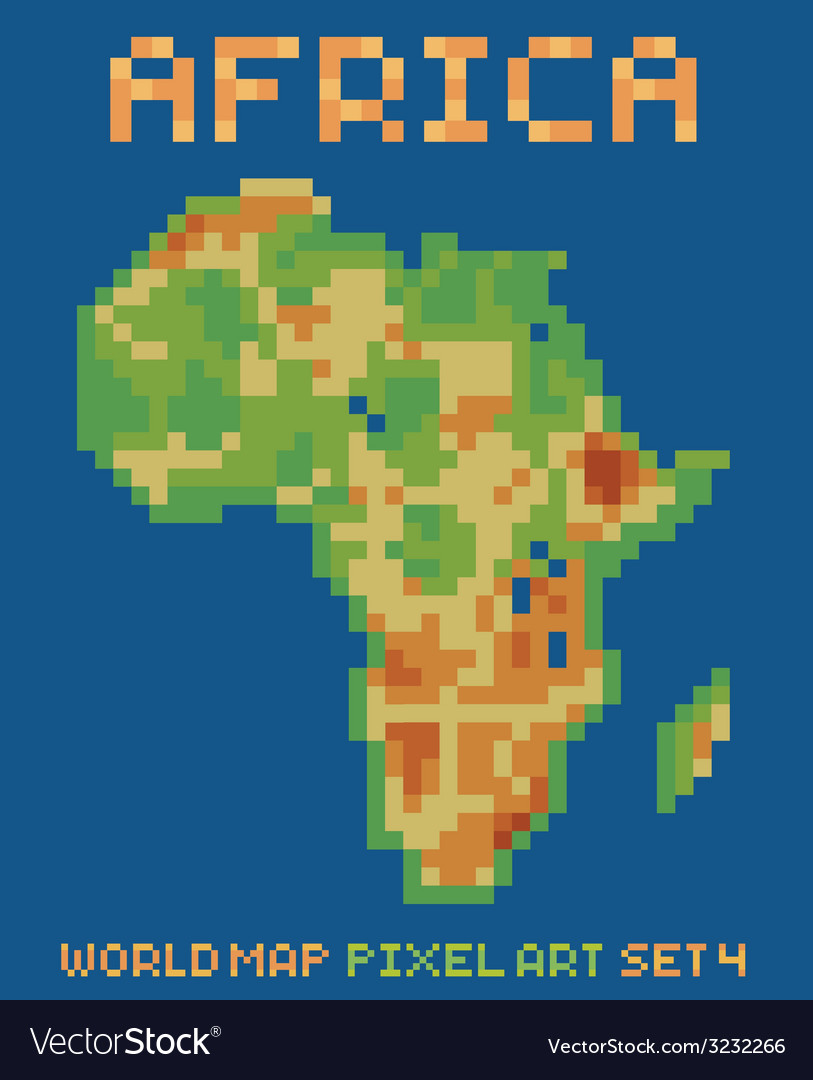 Pixel art style of africa physical world map vector image gumiabroncs Image collections
