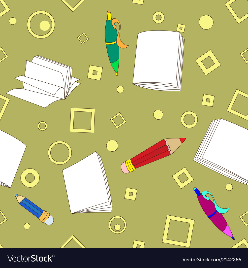 School notes seamless pattern on khaki background