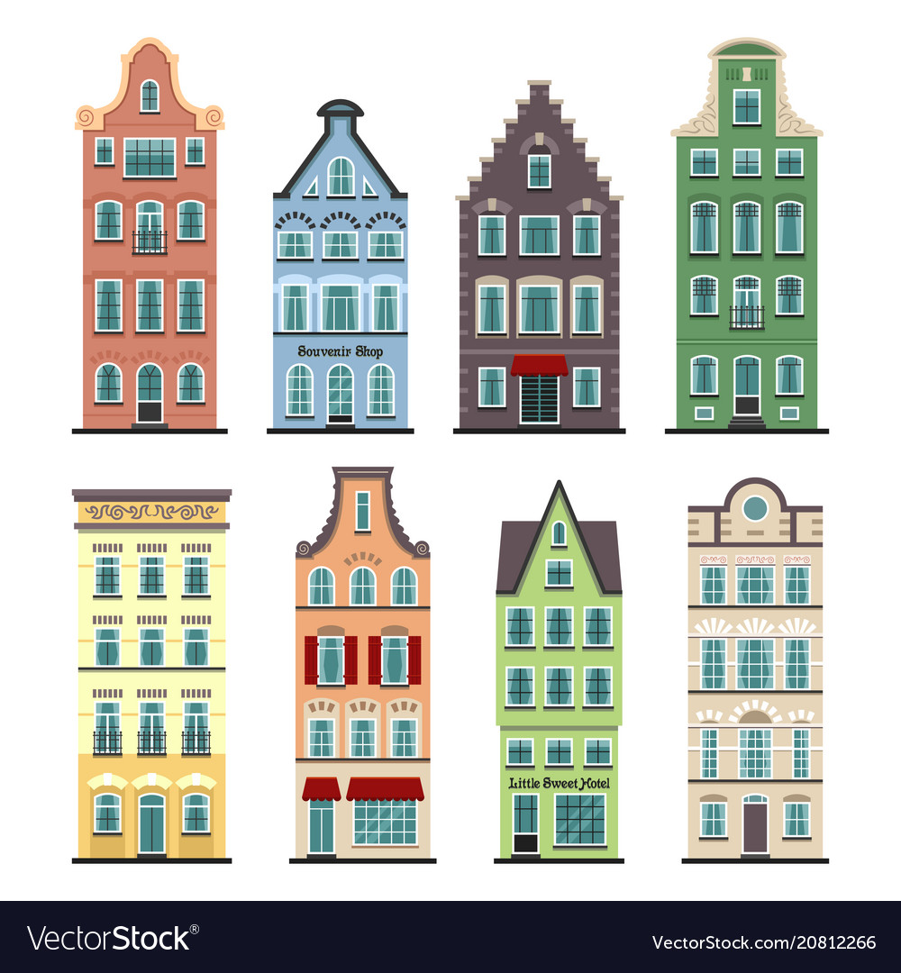 Set of 8 amsterdam old houses cartoon facades