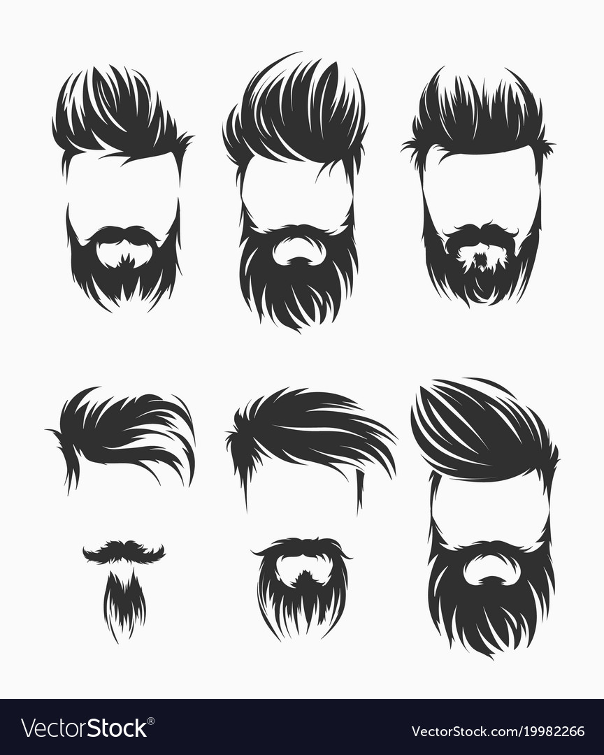 Set of men hairstyle with beard mustache