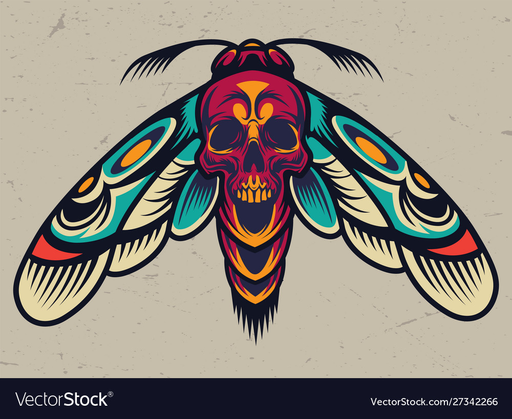 Vintage colorful scary moth