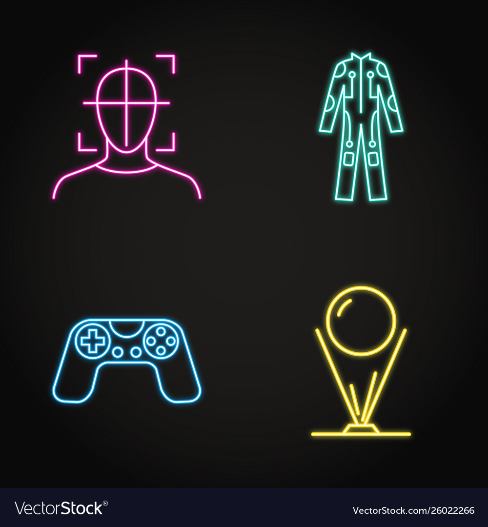 Virtual reality concept icon set in neon line