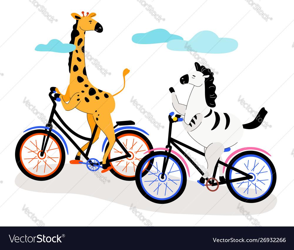 Zebra and giraffe cycling - modern flat design