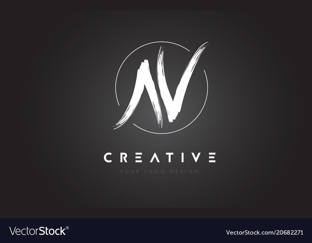 Av brush letter logo design artistic handwritten
