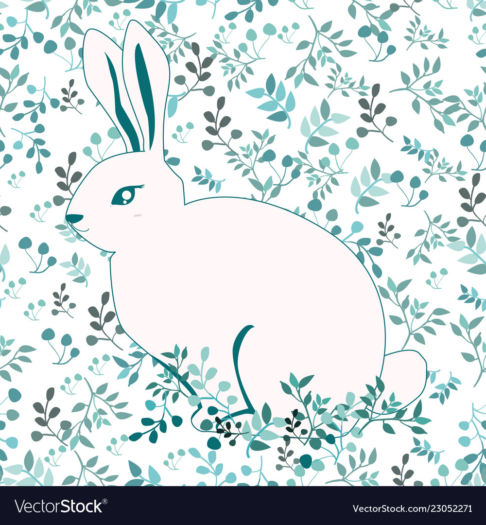 Blue and white rabbit on flower background