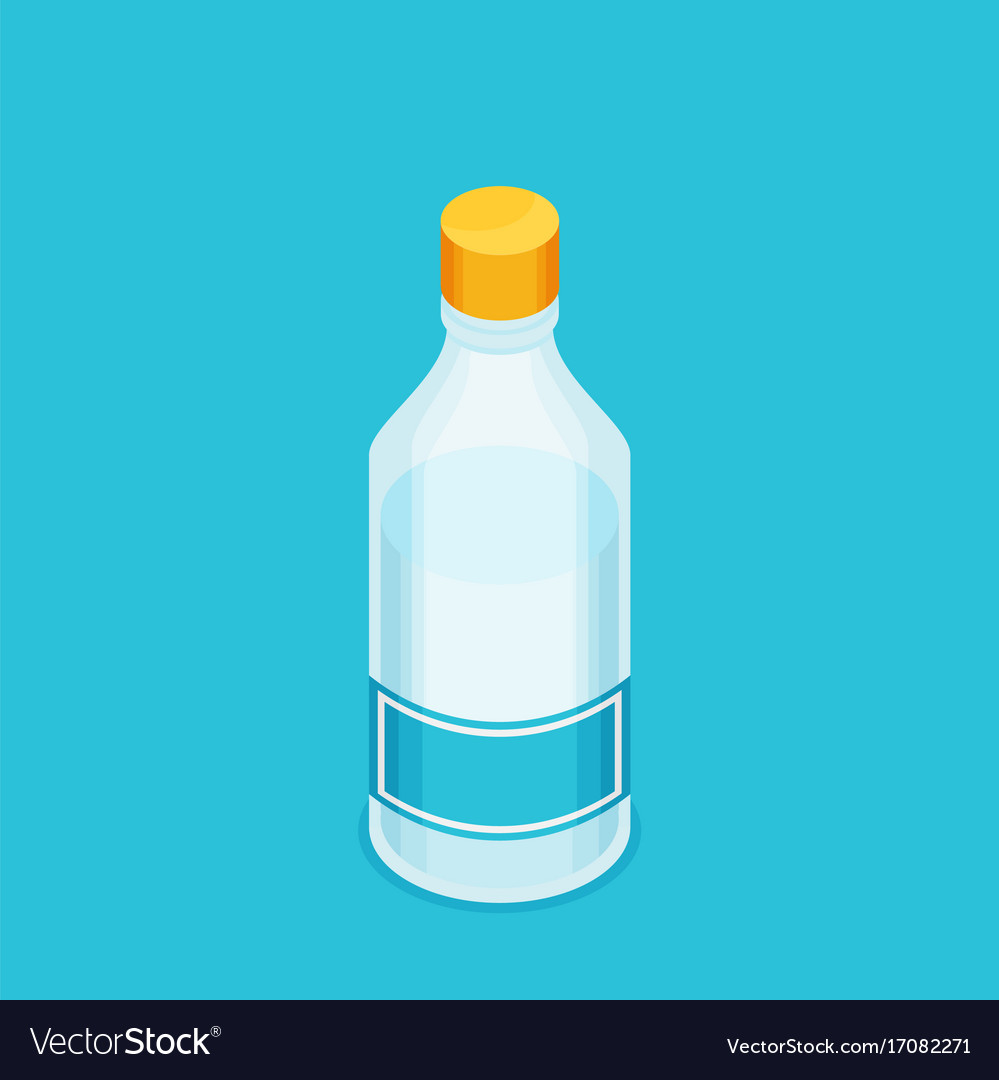 Bottle of water icon in flat isometric style