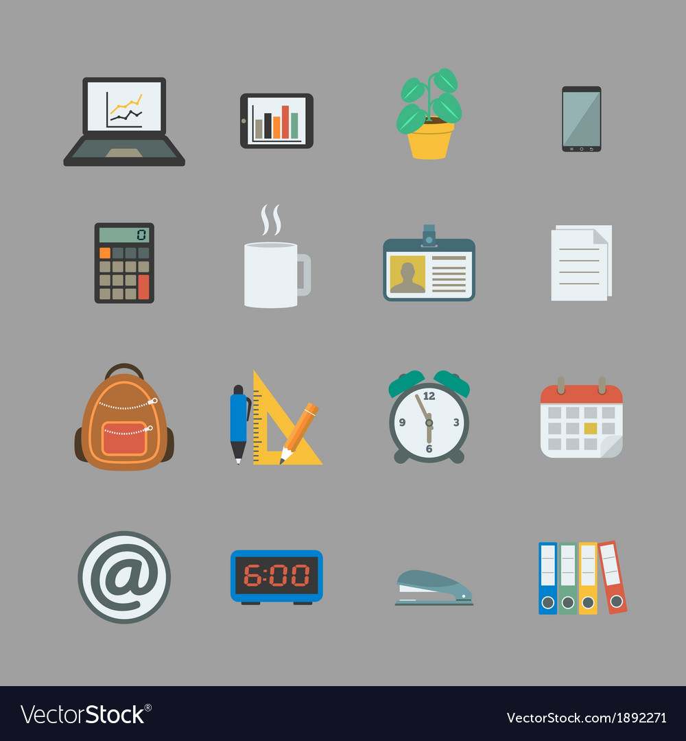 Business collection of office supplies vector image