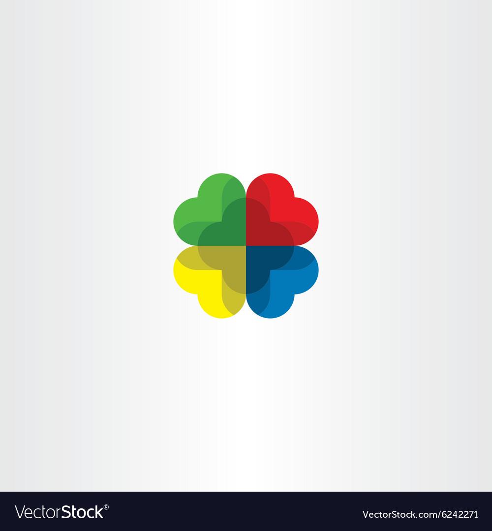 Colorful logo heart circle love icon