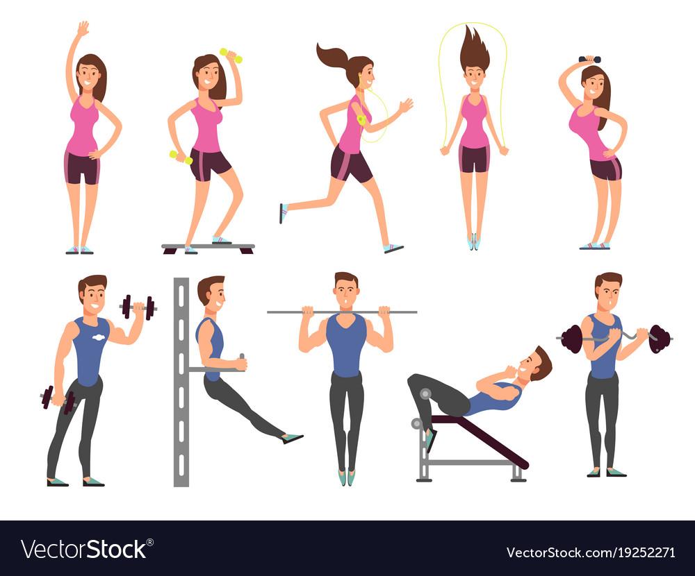 Fitness people cartoon characters set royalty free vector - Fitness cartoon pics ...